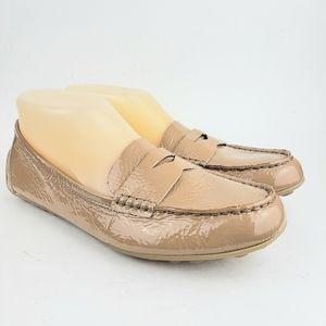 Born Tan Patent Leather Mocs Slip On Flats 7…